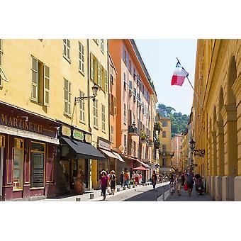 Nice Cote dAzur francês Riviera França Vieille Ville a antiga visão da cidade ao longo da Rue de la prefeitura Poster Print por imagens panorâmicas (36 x 24)
