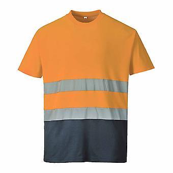 Portwest-שני טון קומפורט כותנה הצוות שרוול קצר צוואר שרוולים רפלקטיבית חולצת טריקו