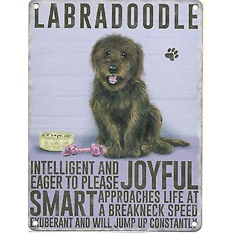 Medium Wall Plaque 200mm x 150mm - Brown Labradoodle by The Original Metal Sign Co