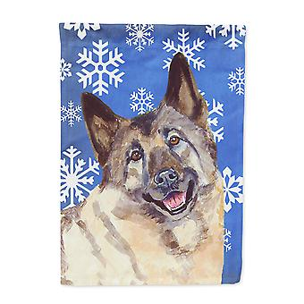 Carolines Treasures  LH9308-FLAG-PARENT Norwegian Elkhound Winter Snowflakes Hol