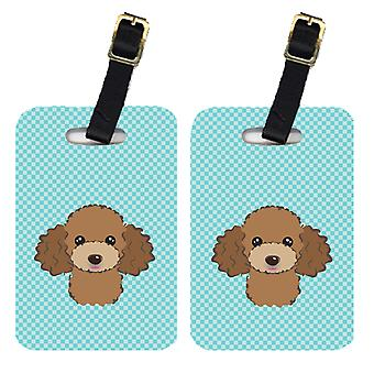 Pair of Checkerboard Blue Chocolate Brown Poodle Luggage Tags