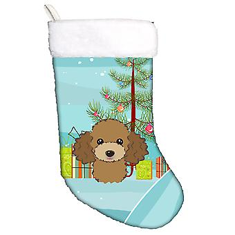 Christmas Tree and Chocolate Brown Poodle Christmas Stocking