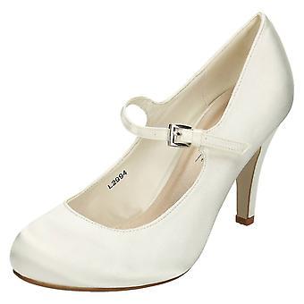 Ladies Anne Michelle High Heel Round Toe Satin Court Shoe - L2994