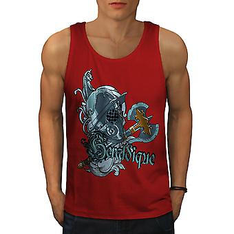 Graphic Knight Men RedTank Top | Wellcoda