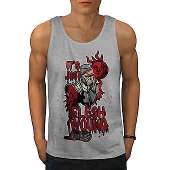 Just A Flesh Wound Men GreyTank Top | Wellcoda