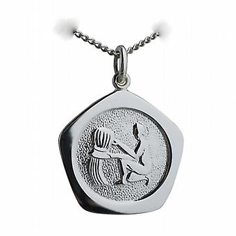 Silver 21mm five sided Aquarius Zodiac Pendant with a curb Chain 24 inches
