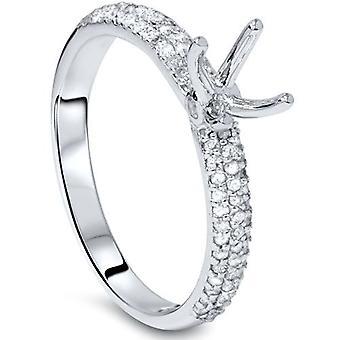 3 / 8ct Pave Diamant Verlobungsring Einstellung Weißgold