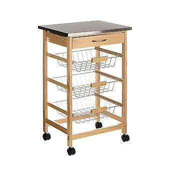 Pinewood Kitchen Trolley S Steel Top met 1 lade en 3 draadmanden