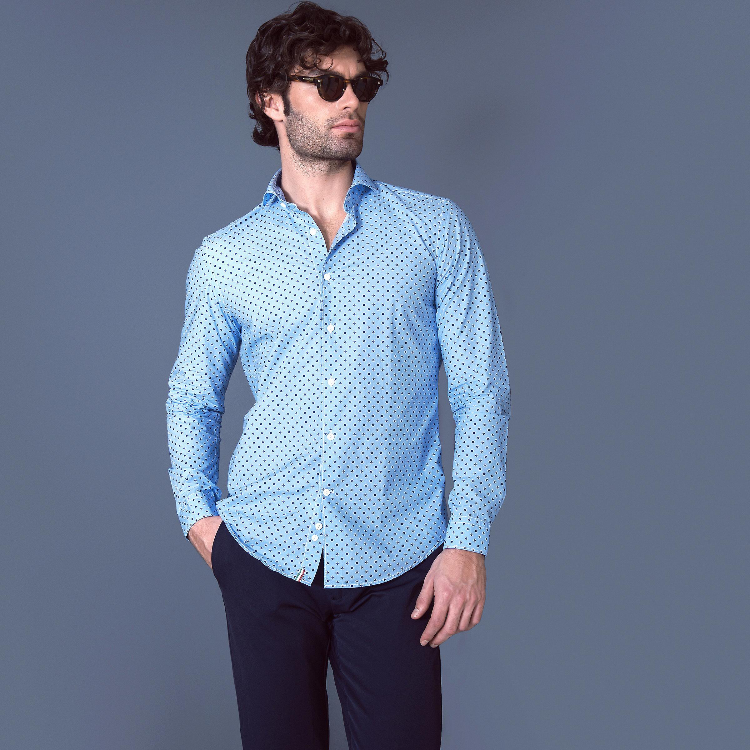 Fabio Giovanni Cosenza Shirt - Stylish Polka Dot Shirt - Mens Italian Casual Shirt