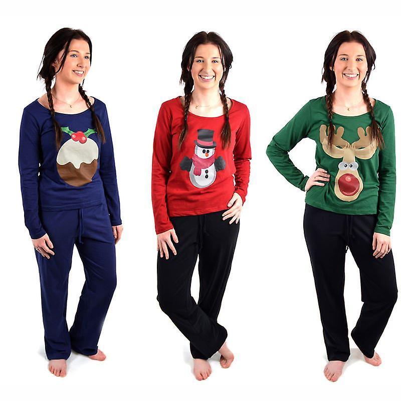 Ladies Christmas Xmas Pyjamas Set Festive Night Sleep Wear PJ Winter Warm Gift