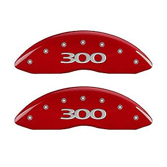 MGP Caliper Covers (32020S300RD) '300' Engraved Front and Rear Caliper Cover with Red Powder Coat Finish and Silver Char