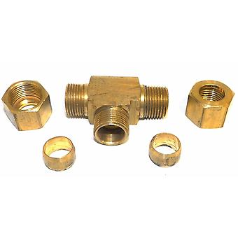 "Big A Service Line 3-171860 Brass Pipe, Tee Fitting Kit 1/2"" x 3/8"""