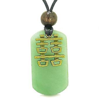 Double bonheur Feng Shui Amulet Fortune pouvoirs magiques vert Tag pendentif en Quartz