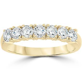 1ct Diamant Ehering Jubiläum 14k gelb Gold 7-Stein Womens Band