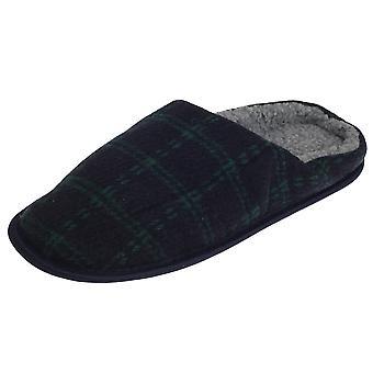 SlumberzzZ Mens Fleece Lined Tartan Slippers With Rubber Sole