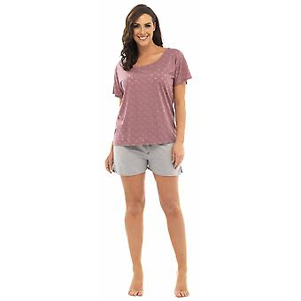 Ladies Tom Franks Star Burnout T-Shirt Top & Shorts Pyjama Set Lounge Wear