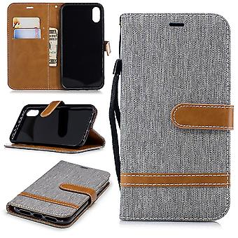 Apple iPhone case cover XR mobile phone case protective bag compartment pouch wallet grey