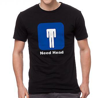 Funny Humor Need Head Graphic Men's Black T-shirt