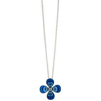 Ti2 Titanium Triple Four Petal Flower Pendant - Blue