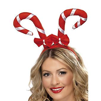 Smiffy's Candy Cane Headband Bows Red And White