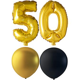 Ballons Birthday Mix 50 ans or/noir