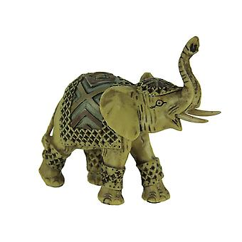 Off-White Faux Carved Decorated Elephant Statue Small