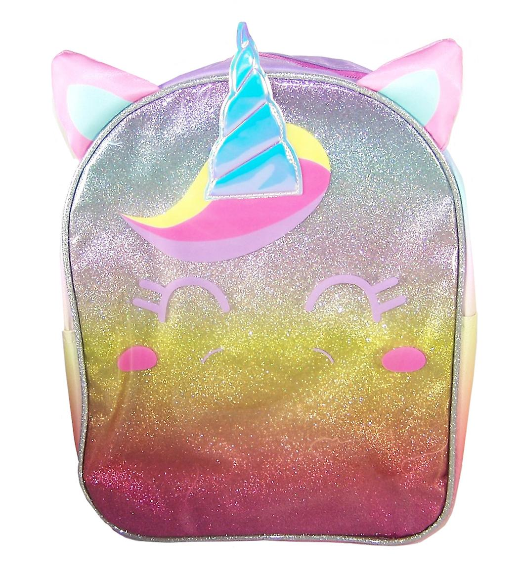 Girls pink rainbow colours Unicorn face backpack
