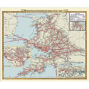 Routes & Stations of GWR 1927 1000 Piece Jigsaw Puzzle 690mm x 480mm (jg)