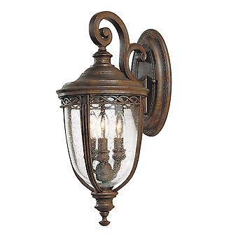 Engels Beteugel drie lichte middelgrote muur lantaarn Britse brons - Elstead verlichting