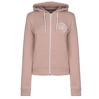 Fabric Womens Embroidered Zip Hoodie