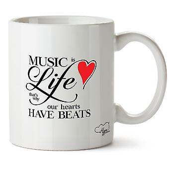 Hippowarehouse Music Is Life That's  Why Our Hearts Have Beats Printed Mug Cup Ceramic 10oz