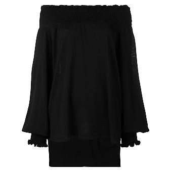 Laneus Mgd1422nero Women's Black Cotton Top