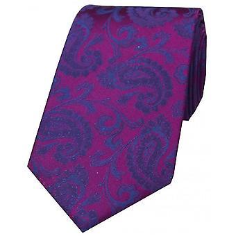 David Van Hagen luxe Paisley cravate en soie - Cyan