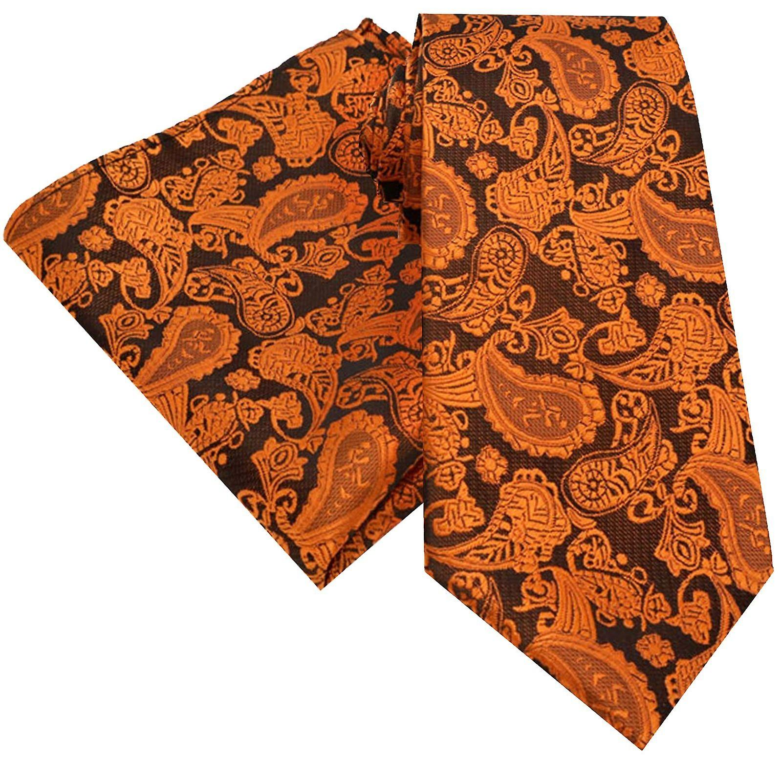 Burnt orange paisley dinner event tie & pocket square