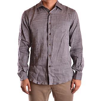 Z Zegna Ezbc225003 Men's Camisa de Linho Marrom