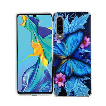 Huawei P30 King design téléphone cellulaire coque protectrice poche Bumper papillon bleu