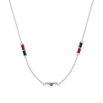 Minnesota Wild Sterling Silver Engraved Triple Station Necklace In Red & Green