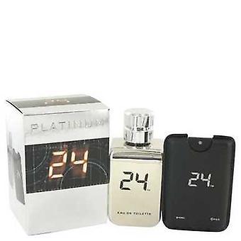24 Platinum The Fragrance By Scentstory Eau De Toilette Spray + 0.8 Oz Mini Pocket Spray 3.4 Oz (me V728-500202