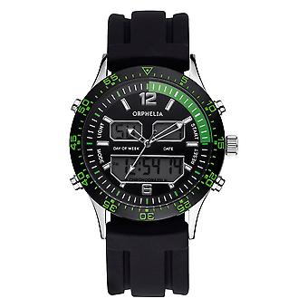 ORPHELIA Mens Analogue Digital Watch Eclips Black Silicone 122-6911-44