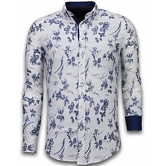 E Shirts - Slim Fit - Hawaii Pattern - White