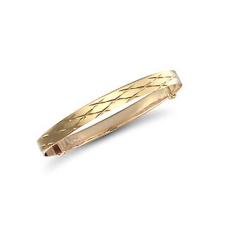 Jewelco Londen Baby Solid 9ct Yellow Gold Diamond Cut 4mm uitbreiden Bangle Bracelet