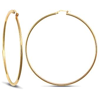 Jewelco London Ladies 9ct Yellow Gold Polished 2mm Hoop Earrings 65mm