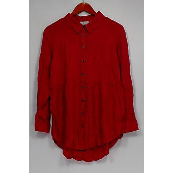 Joan Rivers Classics collectie top knop front blouse verzameld roze A293988