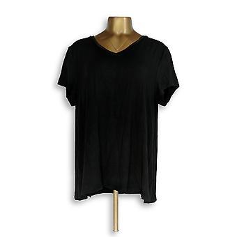 H di Halston Women's Top Essentials V-Neck w/ Forward Black A306231