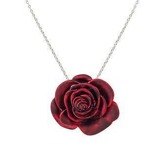 Eternal Collection rød rød rose emalje Silver tone Flower anheng
