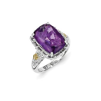 925 Sterling Silver Polished Prong set With 14k Amethyst Ring Size 7 Jewelry Gifts for Women