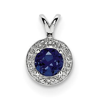 925 sterling zilver gepolijst rhodium-plated Diamond en creëerde Sapphire Pendant-. 01 DWT
