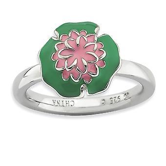 925 Sterling hopea emali kiillotettu rhodium kullattu pinottava ilmaisuja vesi lilja rengas korut lahjat naisille - Ring
