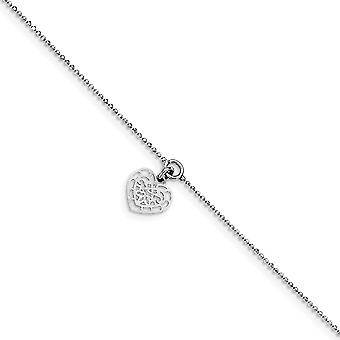 925 Sterling Silver With Love Heart Charm W/.5inch Extension Anklet 10 Inch Jewelry Gifts for Women