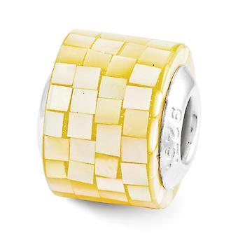 925 plata esterlina pulido reflejos amarillo simulado madre de perla mosaico abalorios encanto colgante collar joyería gif